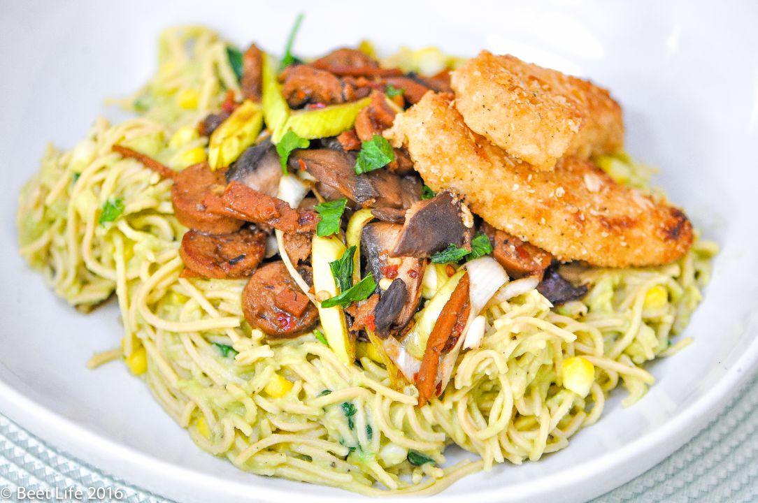 Spaghetti with Veggies, 'Meats' & Avocado Sauce